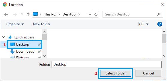 Select Desktop As Chrome Download Location