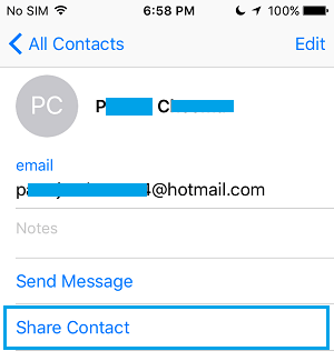 Share Contact Option on iPhone