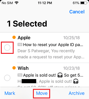 Tap & Hold on Move Option in iPhone Mail App