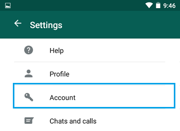 WhatsApp Account Option on Android Phone