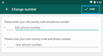 WhatsApp Enter New and Old Numbers Screen