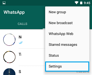 WhatsApp Settings Tab on Android Phone