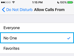 iPhone Allow Calls From Settings
