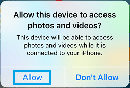Allow This Device to Access Photos and Videos Message