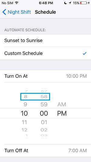Change Night Shift Mode Start Time
