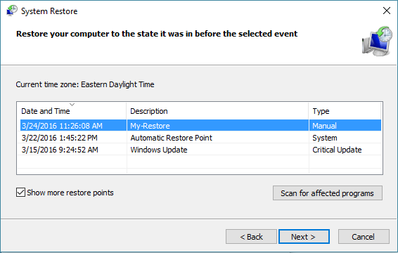 System Restore Points On WIndows 10 Computer