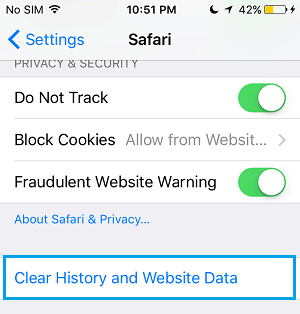 Clear Safari History and Website Data On iPhone