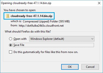 CloudReady File Download Window
