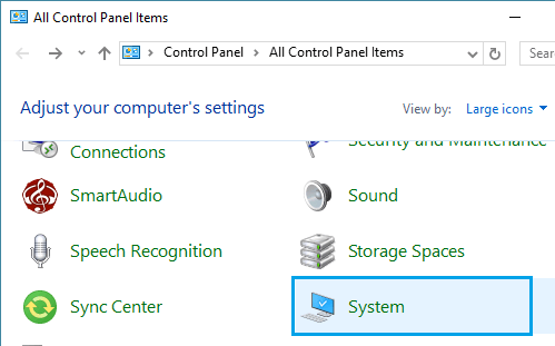 System icon on Windows 10 Control Panel Screen