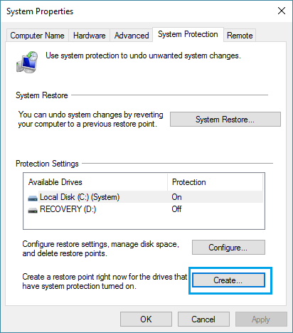 how to create system restore point in windows xp