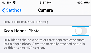 Disable Keep Normal Photo option on iPhone