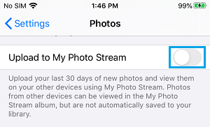 Disable Photo Stream on iPhone
