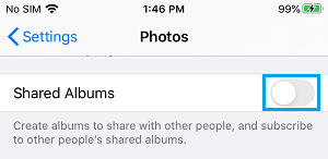 Disable Shared Albums on iPhone