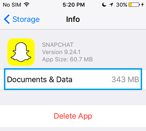 Documents and Data taken up by Snapchat