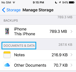 iCloud Manage Storage For Documents and Data