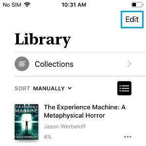 Edit Books Option on iPhone
