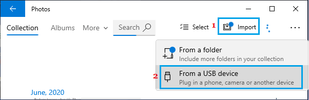Import Photos from USB Device Option in Windows Photos App