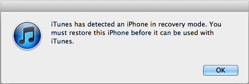 iPhone Detected in Recovery Mode Alert From iTunes