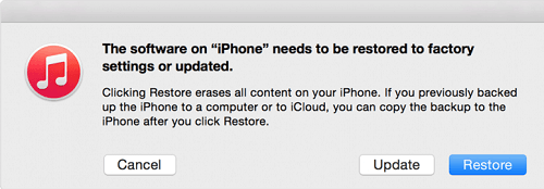 iTunes Recovery Mode Update and Restore Options