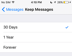 Keep Messages Period Option on iPhone
