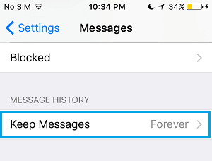 Keep Message History Option on iPhone