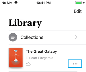 Menu Icon Next to Deleted Book On iPhone