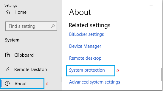 Open System Protection on Windows PC