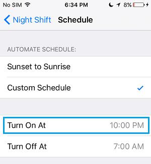 Night Shift Mode Schedule Screen