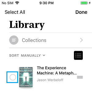 Select Books to Delete on iPhone