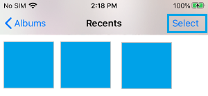 Select Photos Option in Recents Album on iPhone