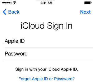 Sign-in to iCloud Drive on iPhone