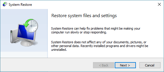 System Restore Start Screen in Windows 10