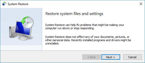 System Restore Start Screen on Windows 10
