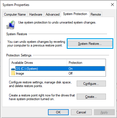 Select System Restore Drive