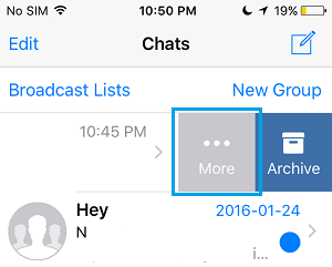 WhatsApp Group More Option Tab on iPhone