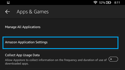 Amazon Application Settings Tab on Kindle Fire
