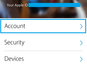 Accounts Tab Apple ID