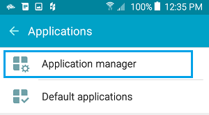 Applications Manager Tab on Android Phone