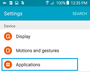 Applications Tab on Android Phone Settings Screen