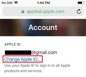 Change Apple ID option at appleid.apple.com