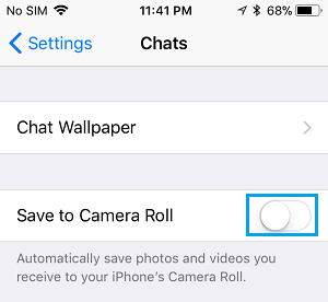 Disable Save Photos to Camera Roll Option in WhatsApp on iPhone