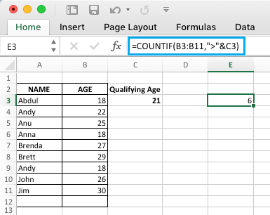 Excel COUNTIF Function Referring Values in Another Cell