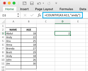 Excel COUNTIF Function to Count People With Same Name