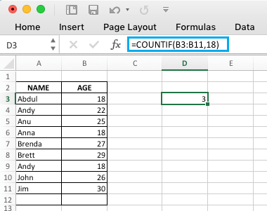 Excel COUNTIF Function to Count Values Equal to a Number