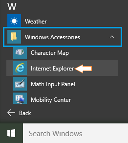 Internet Explorer In Windows Accessories Section
