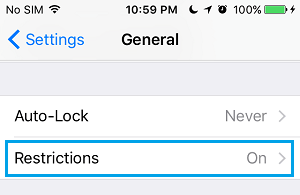 Restrictions Tab on iPhone General Settings Screen