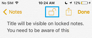Lock Note Icon Within a Note on iPhone