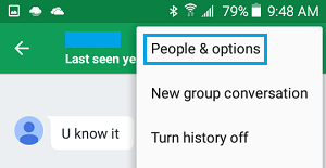 Google Hangouts People and Option Tab On Android Phone