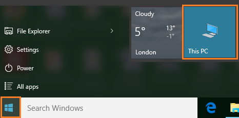 My Computer icon Pinned to Start Menu