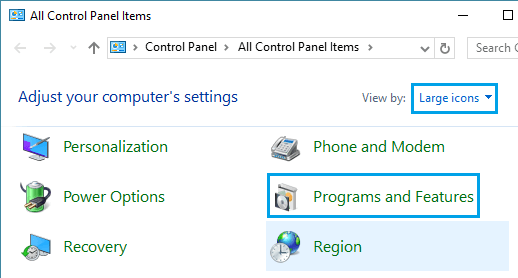 Programs and Features Option in Windows 10 Control Panel